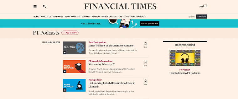Financial Times is one of six news media companies featured in the new report.