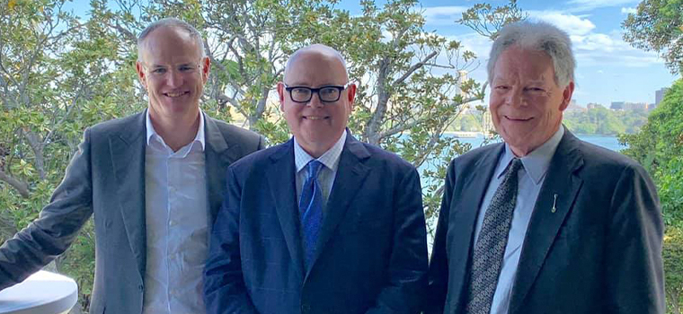 News Corp Australia Executive Chairman Michael Miller, INMA CEO Earl J. Wilkinson, and McPherson Media Executive Chairman Ross McPherson share a moment during a reception with Australian Prime Minister Scott Morrison at his Sydney residence.