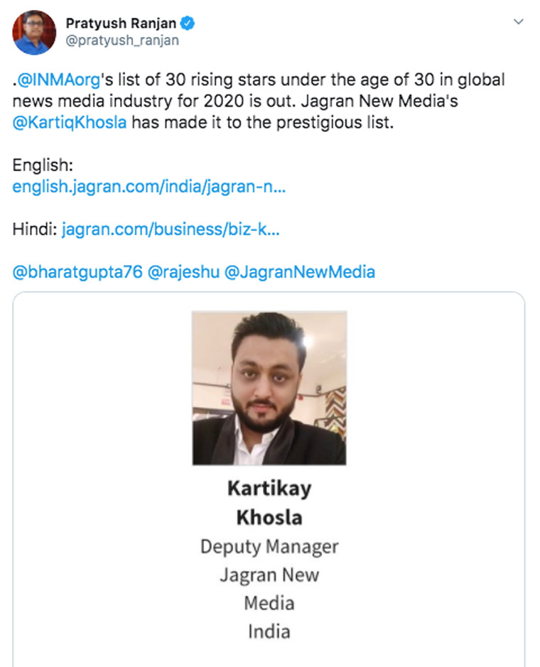 Kartikay Khosla is deputy manager at Jagran New Media in India.