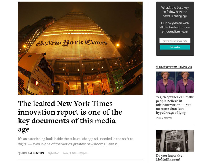 The New York Times Innovation Report was an internal document leaked in 2014.