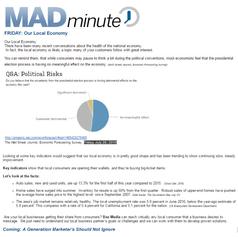 The MAD Minute is a quick summary of the most relevant information for the sales team.