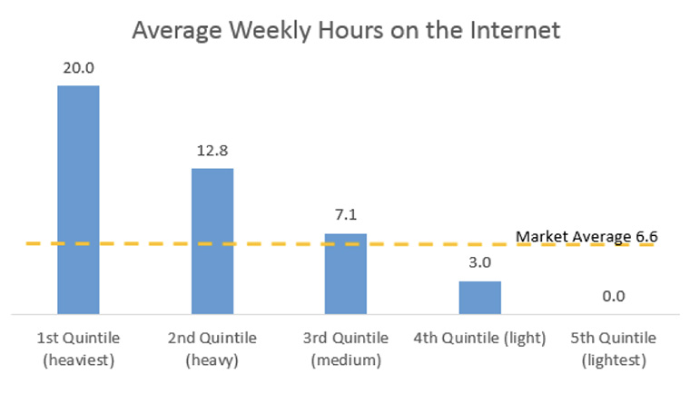 There is a portion of the population using the Internet 20 hours a week on average.