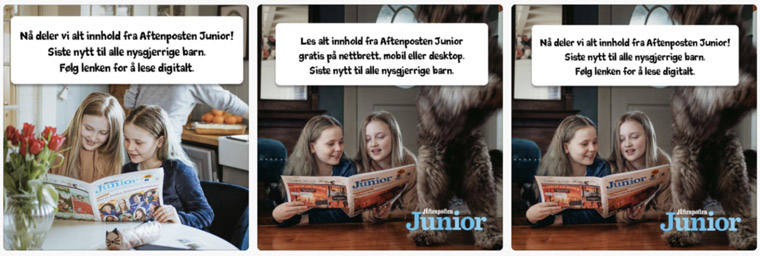 The promotional plan for Aftenposten Junior included several social media ads that ran on Facebook.