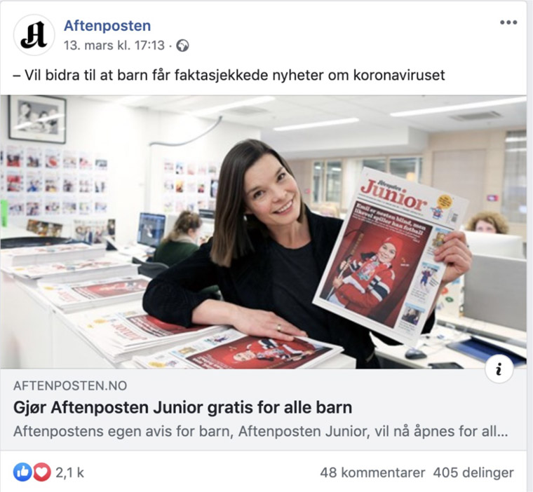 Aftenposten ran an article about the free access to Aftenposten Junior to help promote it.