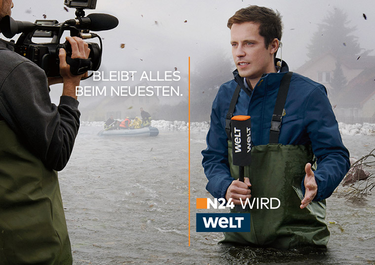 "The campaign's main theme was ""N24 becomes Welt. Everything stays brand new."""