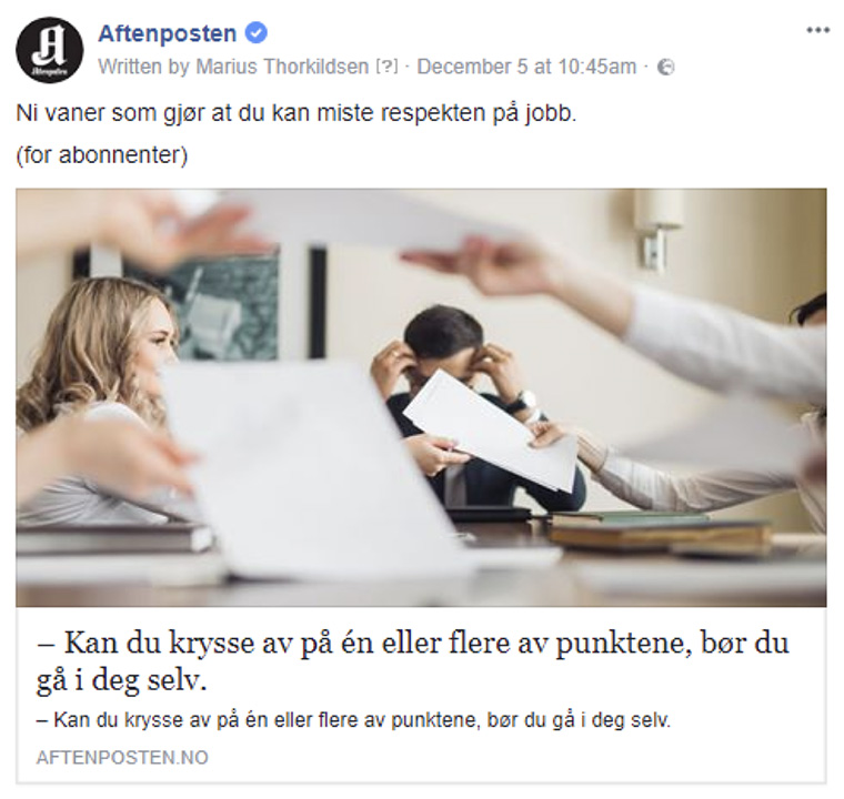 Instead of chasing likes and comments, Aftenposten placed a new emphasis on its Facebook page and community.