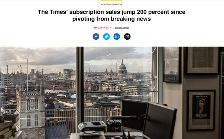 The Times has committed to publishing content three times a day.