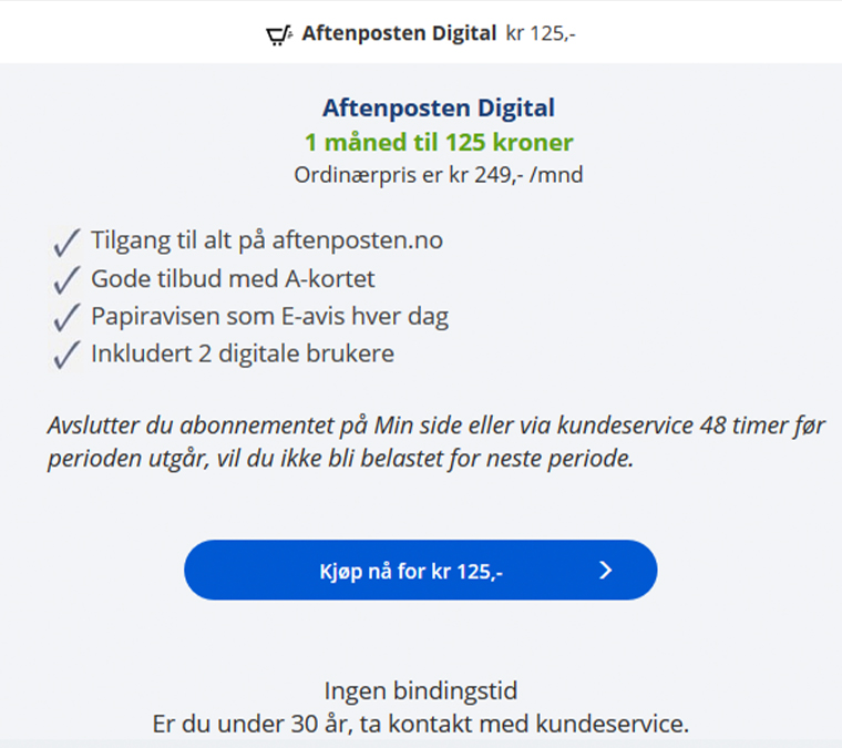 Aftenposten has also offered promotions with a 50% discount offer.