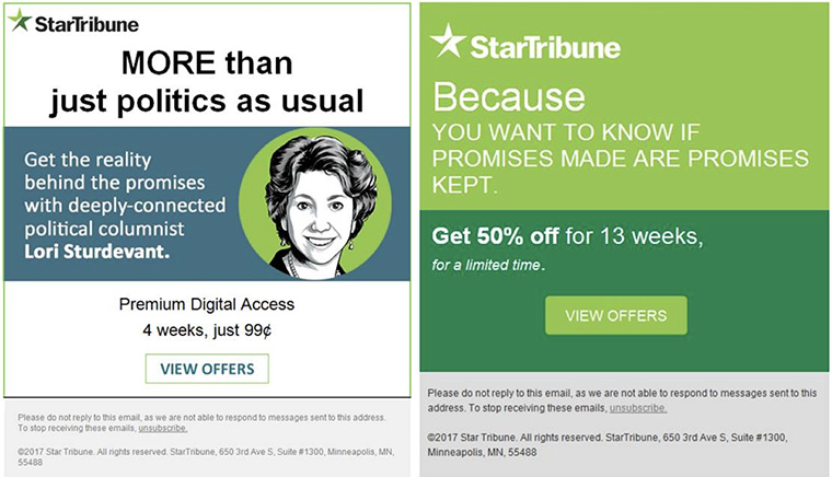 The Star Tribune has started marketing its value to customers.