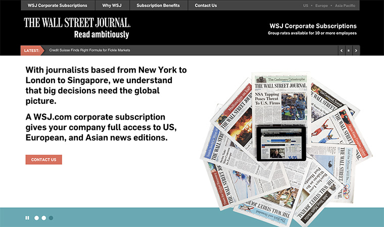 Part of The Wall Street Journal's membership strategy included a corporate subscription offering.