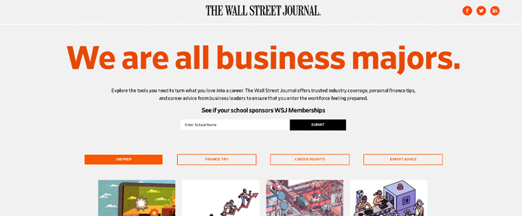 The Wall Street Journal's campaign focused on its ability to address the needs of all academic majors.
