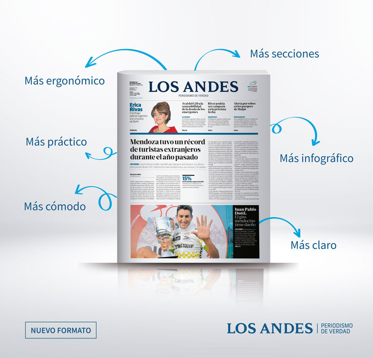 The new digital format launched by Los Andes emphasises photography, data journalism, and audiovisual content.