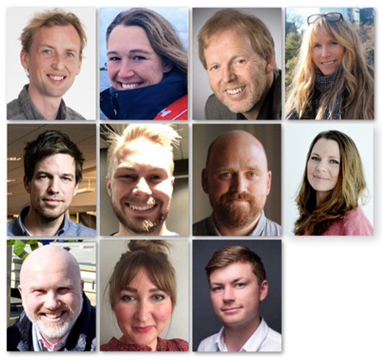 Amedia's editorial development team, from top left: Fredrik Dyrnes Svendsen (editorial coach), Janne Rygh (editorial coach), Erling Brøndmo (editorial coach), Stine Holberg Dahl (editorial coach). Row 2, from left: Ivar Folkedal (editorial coach). Mathias Bergquist (editorial coach), Kjetil Høiby (developer, data-supported journalism), Eivor Jerpåsen (head of editorial development). Row 3 from left: Tord Selmer-Nedrelid (head of video), Linn Hoppestad Art-iam (editorial analyst), Jostein Larsen Østring (VP Editorial Development)