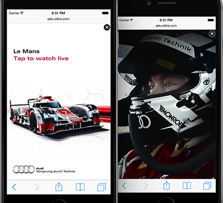 Audi uses vertical videos for mobile for advertising their F1 Team