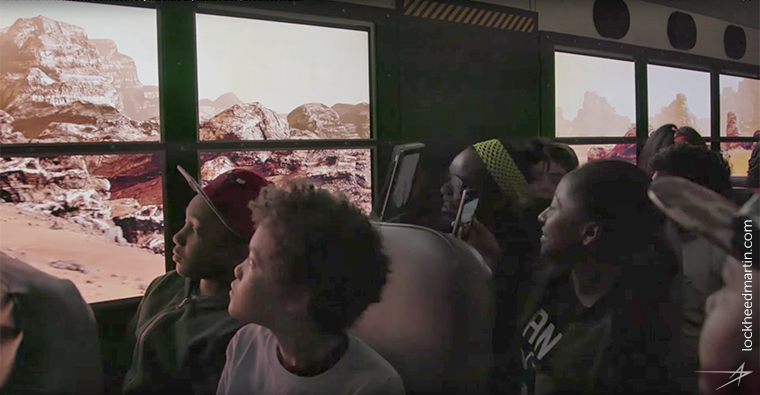 Students got to experience Virtual Reality within a school bus thanks to Lockheed Martin.