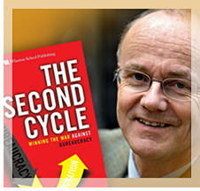 Author Lars Kolind with his book, The Second Cycle: Winning the War Against Bureaucracy