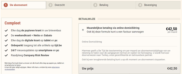 The checkout process for De Tijd, a financial newspaper, outlines four easy steps to sign up for a subscription.
