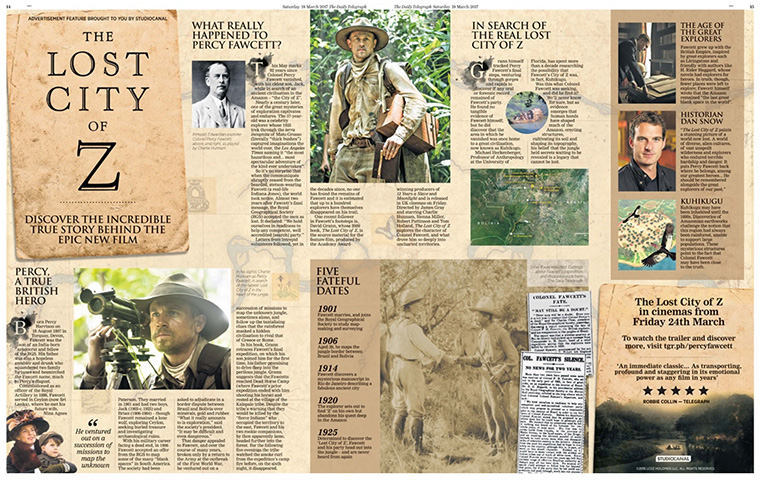 The Lost City of Z spread easily caught readers' eyes.
