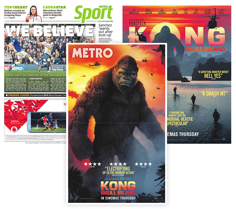 The ads for Kong: Skull Island were printed vertically across the pages.