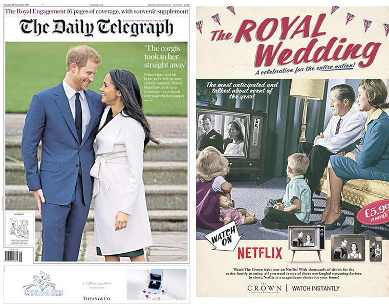 Numerous brands placed relevant advertising around the royal wedding announcement, with Netflix throwing back to the Queen's wedding anniversary.