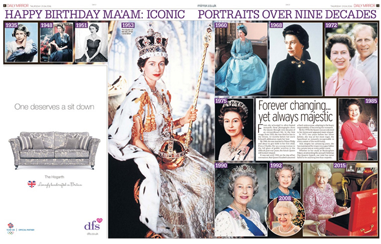 DFS took advantage of the Queen's birthday to place a relevant advertisement.