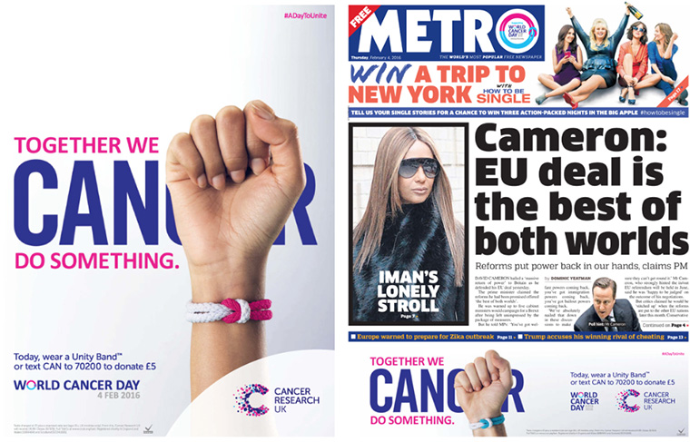 The Metro showed its support for World Cancer Day with branded content and hints of the charity throughout the printed newspaper.