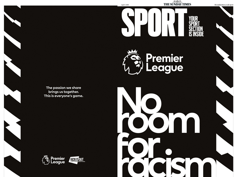 The Premier League took a stance on racism with its recent print ad.