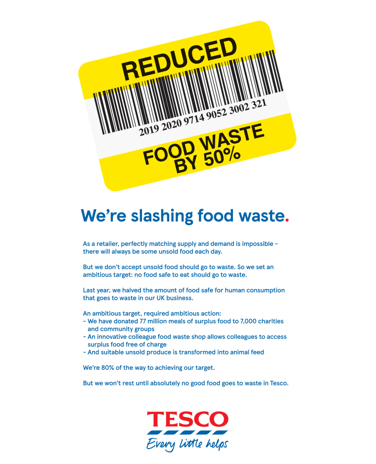 Several brands, including Tesco, are using print ads to communicate their environmental impact.