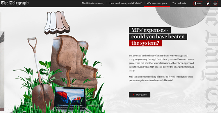 The Telegraph launched an interactive game to mark the 10-year anniversary of the expenses story.