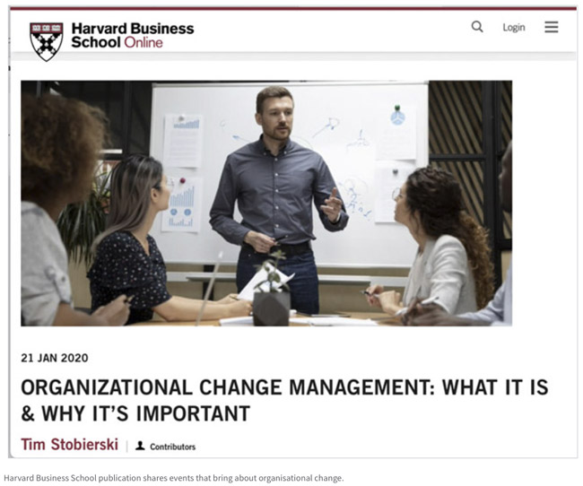Harvard Business School publication shares events that bring about organisational change.