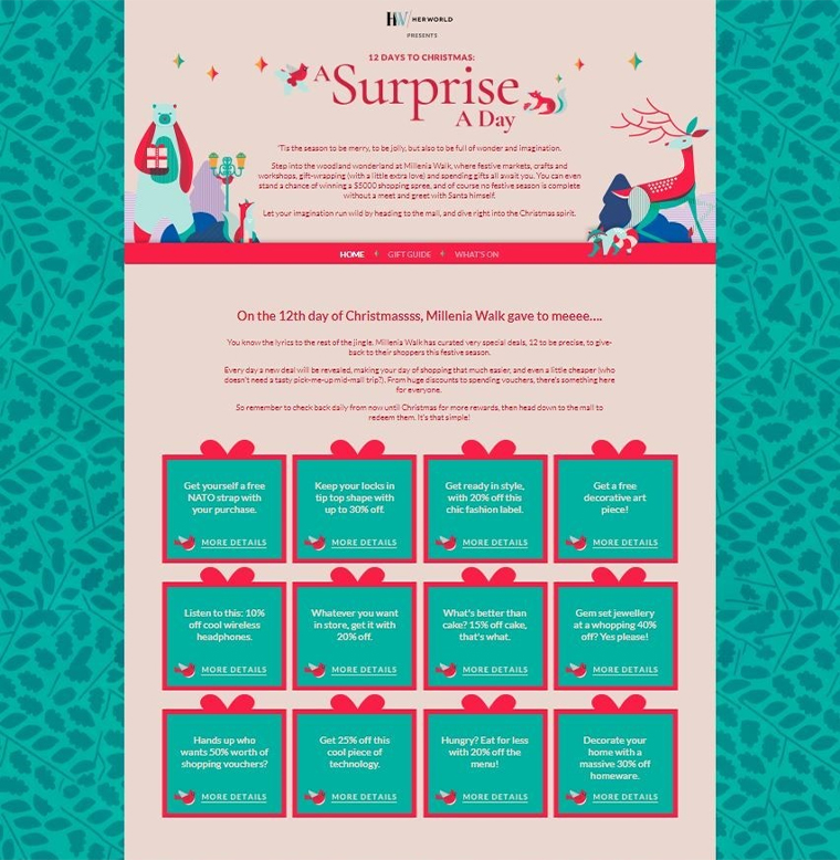 The daily surprise calendar for Millenia Walk offered promotions and discounts of interest to an array of shoppers.