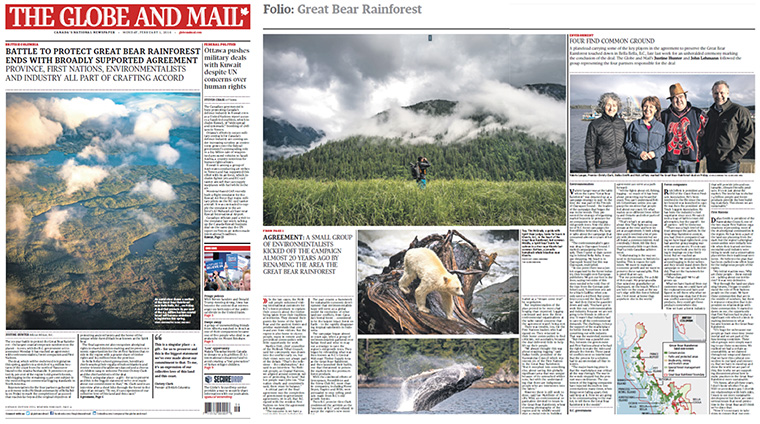 The Globe and Mail published a full spread regarding the protection of Great Bear Rainforest.