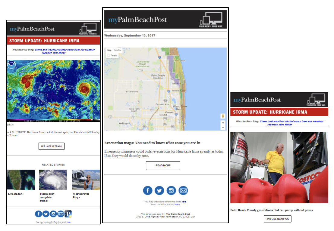 The Palm Beach Post stayed in constant contact with readers throughout the hurricane.