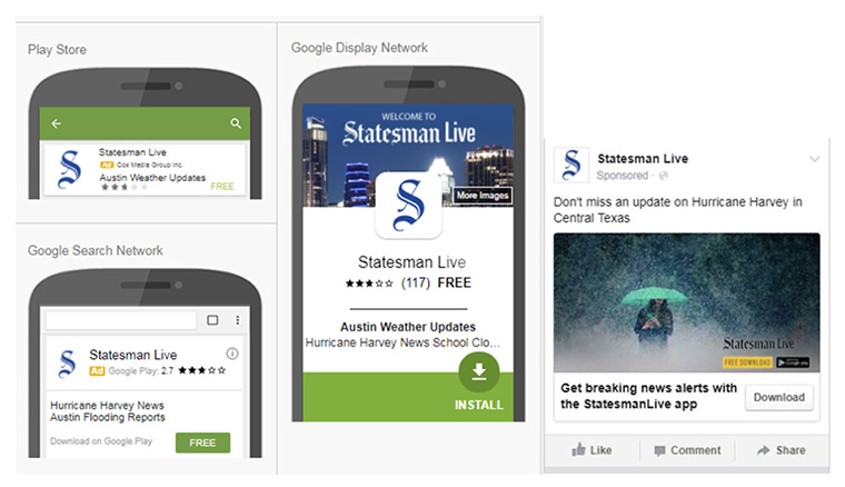 Content integration included an ad campaign to drive app downloads.