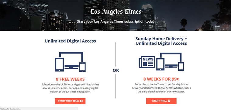 The Los Angeles Times wants to grab readers with discounts as well.