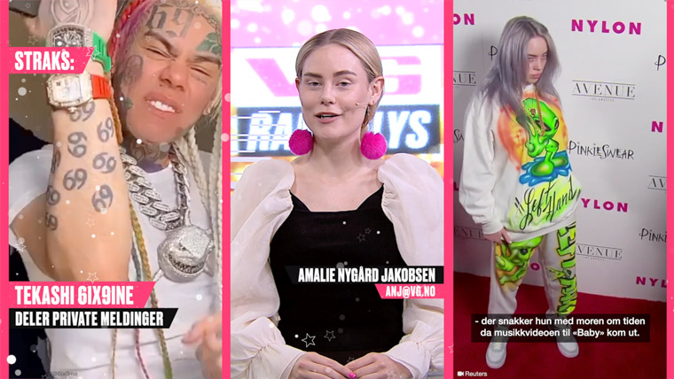 The controversial rapper 6ix9ine and artist Billie Eilish are big hits on the daily entertainment news show VG Rampelys. Here the news is presented by reporter Amalie Nygård Jakobsen of VGTV.