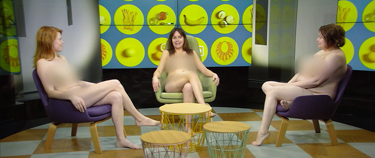Talk show hosts conducted their commentary naked, breaking viewing records.