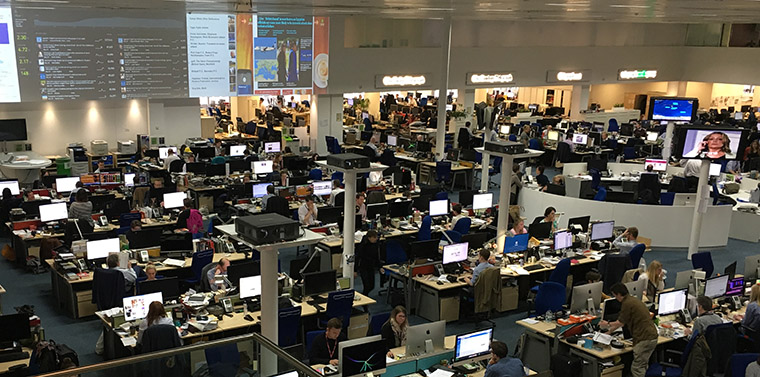 The Telegraph newsroom, where no employee stays put very long in an effort to keep creative energy flowing.