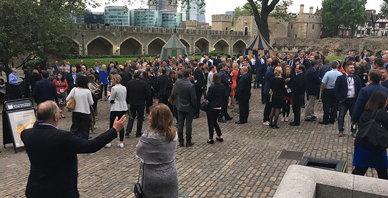 250 INMA members attending the opening reception of the INMA World Congress are evacuated from the Tower of London Monday evening.