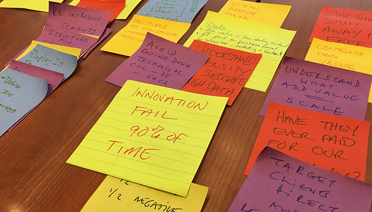 A second group at the workshop used Post-It notes to organise its 10 takeaways.