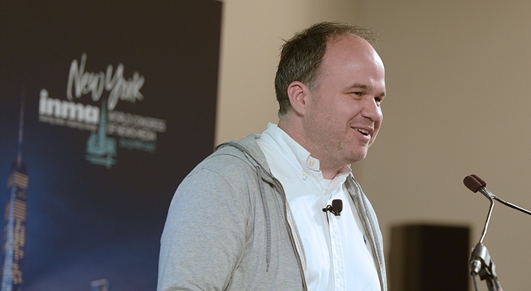 Gerold Riedmann, CEO of Austria's Russmedia, speaks at the Brainsnacks seminar at INMA World Congress.