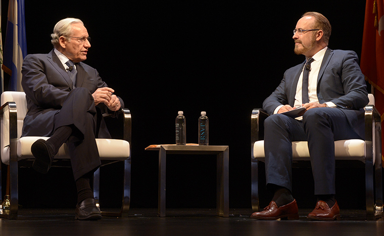 Journalism legend Bob Woodward told amusing and inspiring stories of the Watergate era.