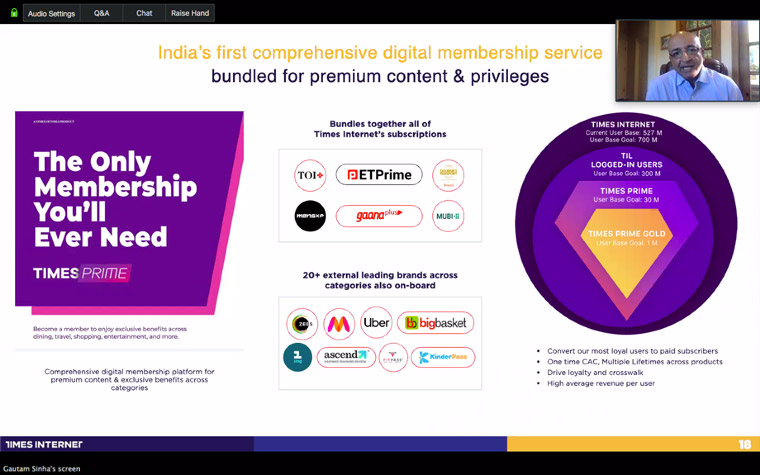 Times Internet bundles its content-to-commerce offerings under its TimesPrime membership.