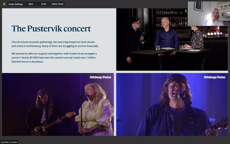 Stampen's Pustervik livestreamed concert attracted 80,000 viewers.