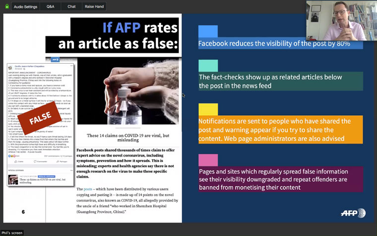 AFP has a network of 80 fact-checkers in 30 countries in part through its partnership with Facebook on the Third-Party Fact-Checking initiative.