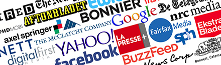 A collage of company logos for companies such as Buzzfeed and Yahoo.