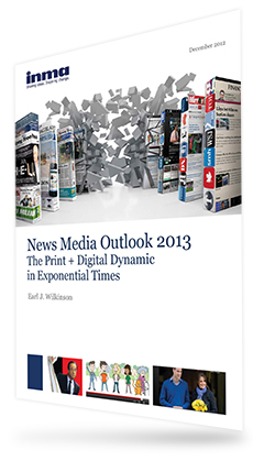 Exploding Books. Cover of News Media Outlook 2013 The Print + Digital Dynamic in Exponential Times report