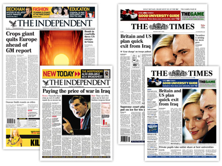 Newspaper covers for The Independent and The Times.