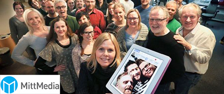 Group photo of MittMedia employees.