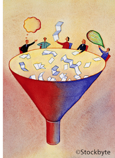 Illustraion of several people throwing papers and publications down a funnel.